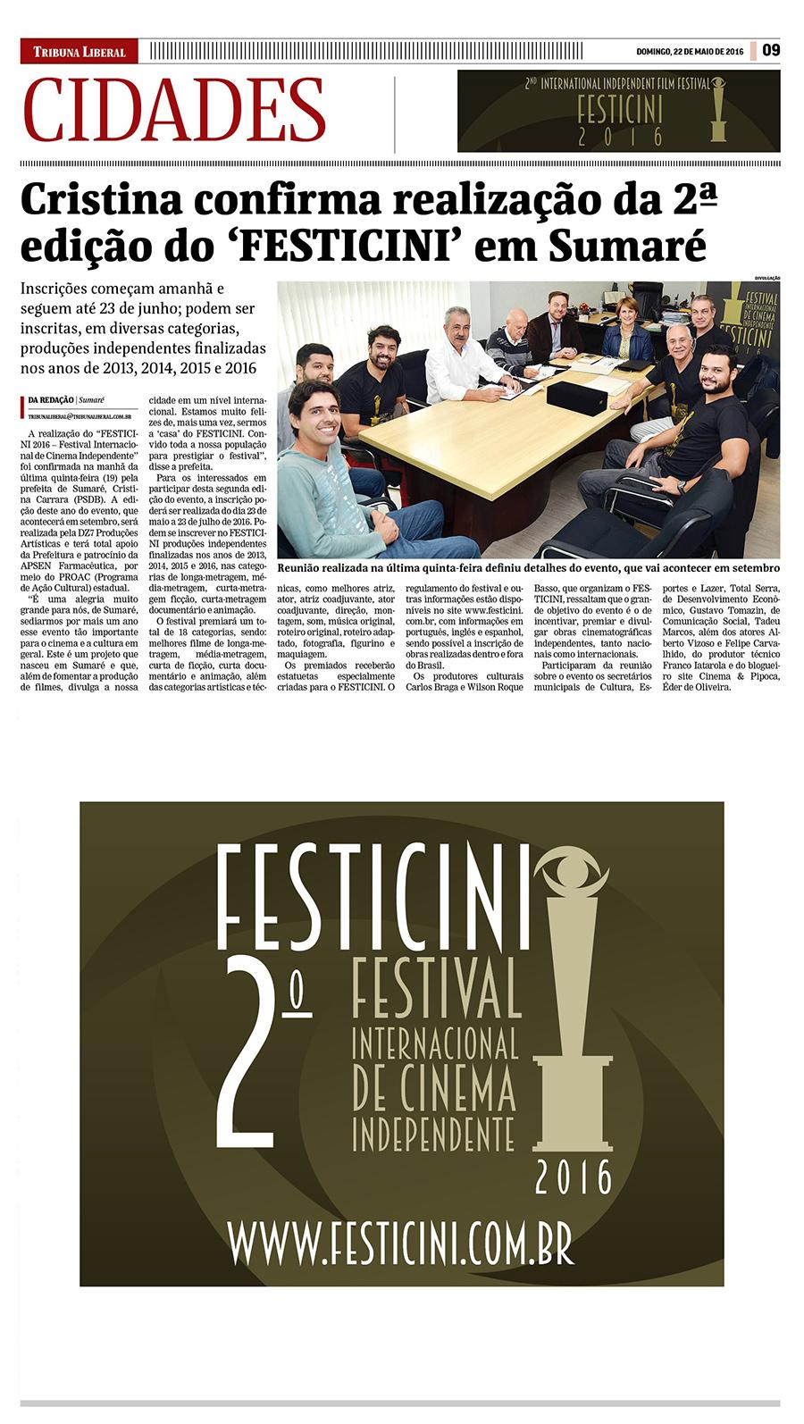 """Cristina confirma realização da 2ª edição do """"FESTICINI"""" em Sumaré"""