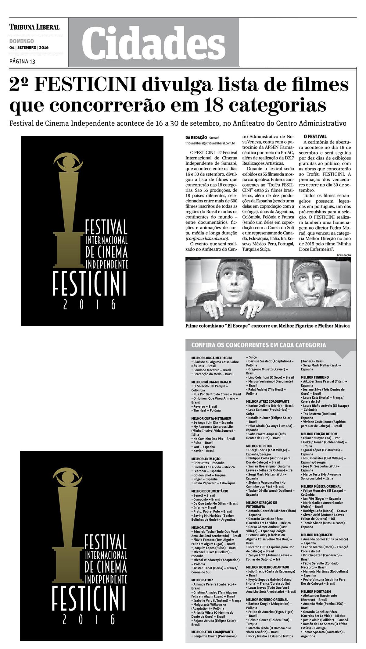 2º Festicini divulga lista de filmes que concorrerão em 18 categorias