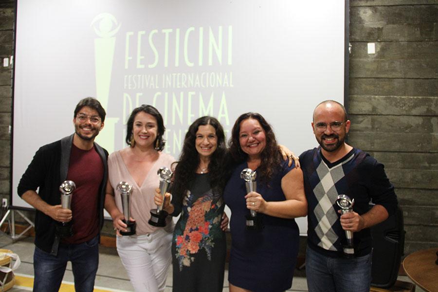 Da esquerda para direita - Filipi Silveira  e Naja Mitidiero - Filme vampiros - Tuna Dwek - Filme Escolhas e Ingrid Trigueiro e Andre Morais Filme Rebento